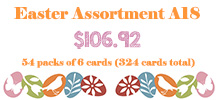 Easter Assortment, 54 packs of 6 cards