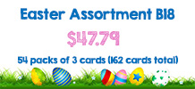 Easter Assortment, 54 packs of 3 cards