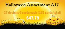Halloween Assortment A17, 27 designs 6 cards each