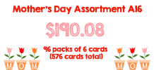 Mother's Day Assortment, 96 packs of 6 cards
