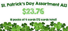 St. Patrick's Deal, 18 packs of 4 cards