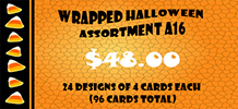 Wrapped Halloween Assortment A16, 24 designs 4 cards each