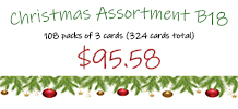 Christmas Assortment B18, 108 packs of 3 cards each