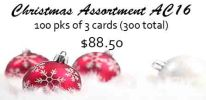 Christmas assortment, 100 designs of 3 cards each